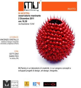 """MU'factory in mostra all'osservatorio artistico """"Maninarte"""""""