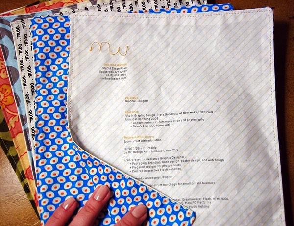 curriculum-vitae creativo in stoffa