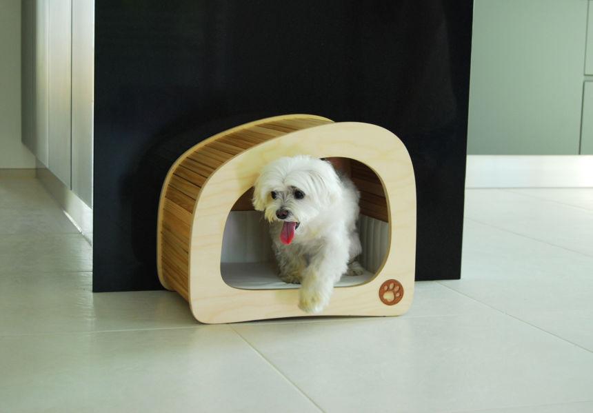 Cuccia in legno design e comfort per cani e gatti finetodesign - Cuccia per cani interno ...