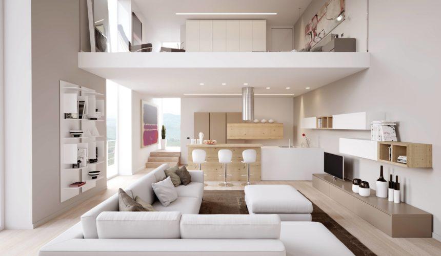 idee illuminazione soggiorno con lampade da terra, faretti, lampade a sospensione