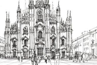 Duomo milano draw